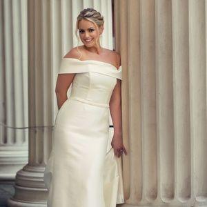 David's Bridal Off-the-Shoulder Wedding Dress